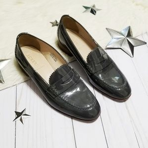 J. Crew dark gray patent leather penny loafers 7.5